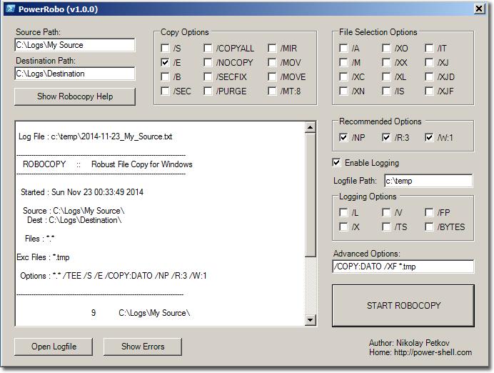 Robocopy PowerShell GUI tool